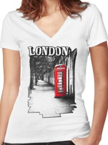 London on the Phone - British Phone Booth Women's Fitted V-Neck T-Shirt