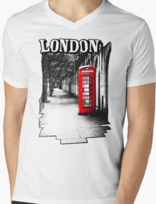 London on the Phone - British Phone Booth Mens V-Neck T-Shirt
