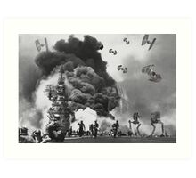 Vintage Imperial Ship Attack Art Print