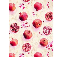 Painted Pomegranates with Gold Leaf Pattern Photographic Print