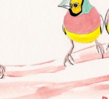 Three Pink Finches Sticker