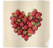 Strawberry Heart on Aged Paper Poster