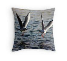 gulls at play 3 Throw Pillow