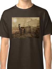 He was waiting by the fence at the crossroads of tomorrow and never Classic T-Shirt