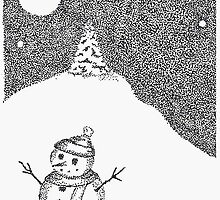 Snowman Pen and Ink Stippling ACEO by smonte2k