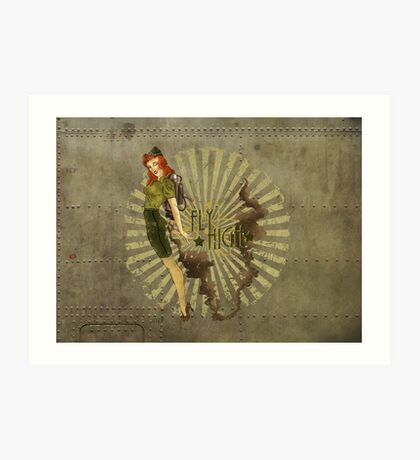 Fly High Dieselpunk Woman Art Print