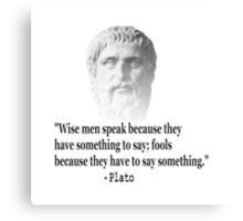 Quote By Plato Canvas Print