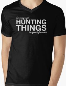 Supernatural - Saving People, Hunting Things, The Family Business - White Mens V-Neck T-Shirt
