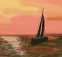 Sailboat under the orange sky in Ventura, California by magins