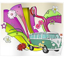 60's Van with Foulli and Gerbera in White Poster
