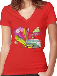 60's Van with Foulli and Gerbera in White Women's Fitted V-Neck T-Shirt