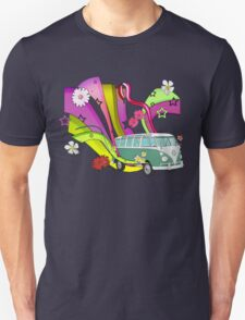 60's Van with Foulli and Gerbera in White Unisex T-Shirt