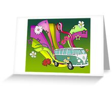 60's Van with Foulli and Gerbera Greeting Card