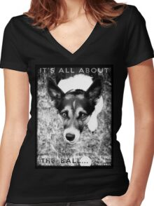 Terrier Obsession: It's All About The Ball - Black and White Remix Women's Fitted V-Neck T-Shirt