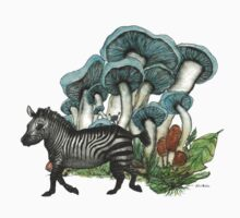 Dancing Zebra Losts in Blue Dizzy Fungi Forest by felissimha