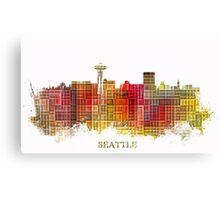 Seattle Washington skyline colored Canvas Print