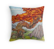 Red Tree Foxes Throw Pillow