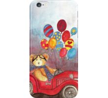 TEDDYBEAR IN RED OLDTIMER SPORTS-CAR WITH BALLOONS - Watercolour-Design iPhone Case/Skin