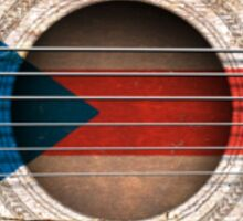 Old Vintage Acoustic Guitar with Puerto Rican Flag Sticker