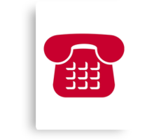Red telephone icon Canvas Print