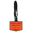 Surf City Santa Cruz Surfer Statue on Orange Podium by Frank Schuster
