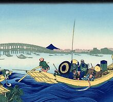 'Sunset Across the Ryogoku Bridge' by Katsushika Hokusai (Reproduction) by Roz Abellera Art Gallery
