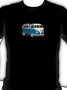 VW Bus T2 Samba Teal on White T-Shirt