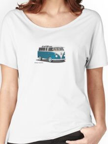 VW Bus T2 Samba Teal on White Hippie Bus Women's Relaxed Fit T-Shirt