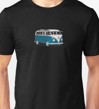 VW Bus T2 Samba Teal on White Hippie Bus Unisex T-Shirt