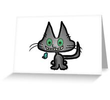 Gray Kitten has a Blue Mouse Toy Greeting Card