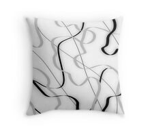 Ribbon abstract, grey, black and white Throw Pillow