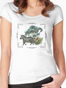 Dancing Zebra Losts in Blue Dizzy Fungi Forest (frame) Women's Fitted Scoop T-Shirt