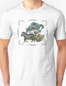 Dancing Zebra Losts in Blue Dizzy Fungi Forest (frame) T-Shirt