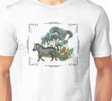 Dancing Zebra Losts in Blue Dizzy Fungi Forest (frame) Unisex T-Shirt