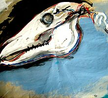 Horse Skull expressive painting by foxandbadger