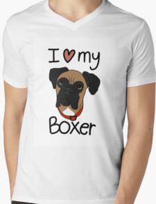 I love my boxer Mens V-Neck T-Shirt
