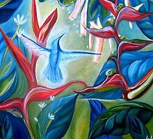 Humming bird in tropical garden by foxandbadger