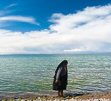 Woman in lake Titicaca, Puno, Peru by juan jose Gabaldon