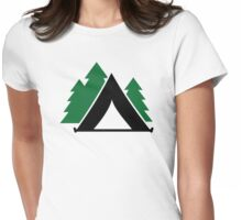 Camping tent forest Womens Fitted T-Shirt