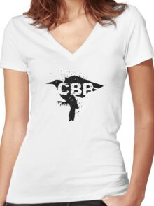 Crippled Black Phoenix Logo (Black) Women's Fitted V-Neck T-Shirt