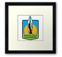 Santa Cruz Surfer Statue Sunset Framed Print