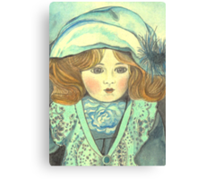 DOLL-PRINCESS - ANTIQUE FRENCH PORCELAIN-DOLL with blue Hat  Canvas Print