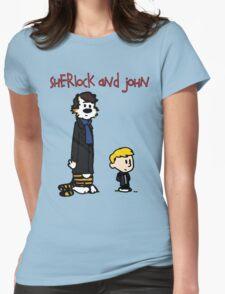 Sherlock Hobbes and John Calvin Womens Fitted T-Shirt