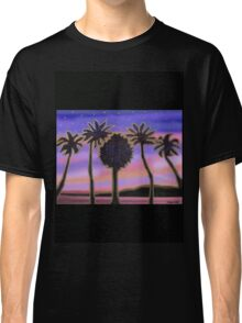 Gold palm trees in the pink sunset Classic T-Shirt