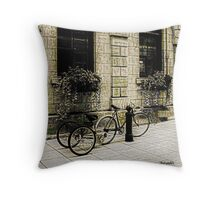 Tandem Bicycle and Flowers Throw Pillow