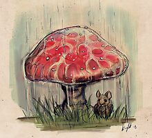 Mouse Sheltering Under Toadstool by Kelsey Peet
