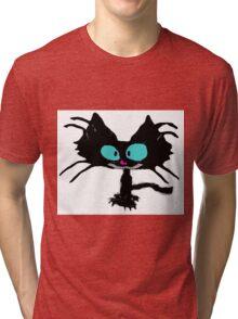 Black Cat Smiling  Tri-blend T-Shirt