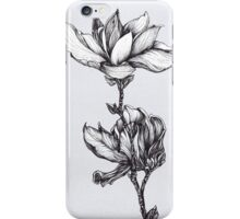 Magnolia black and white print iPhone Case/Skin