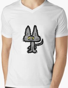 Gray Kitten with Yellow Eyes Mens V-Neck T-Shirt