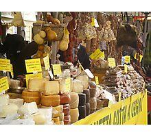 Cheeses, salami, sausages display Photographic Print